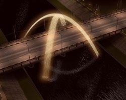 Фонтан над мостом