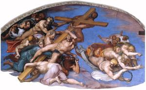 Мікеланджело. Встановлення хреста. Рим. Сикстинська капела