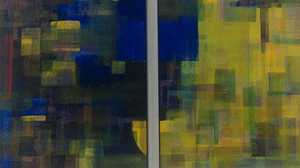 І. В. Вештак-Остроменська. Жовто-синій простір. 2015. Диптих. Полотно, акрил, друк