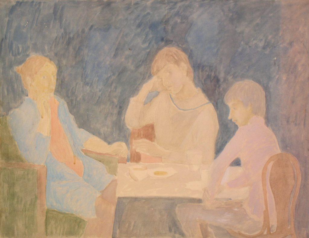 Галина Григор`єва. Валентина, Сергій, Іван, діти за столом. 1982
