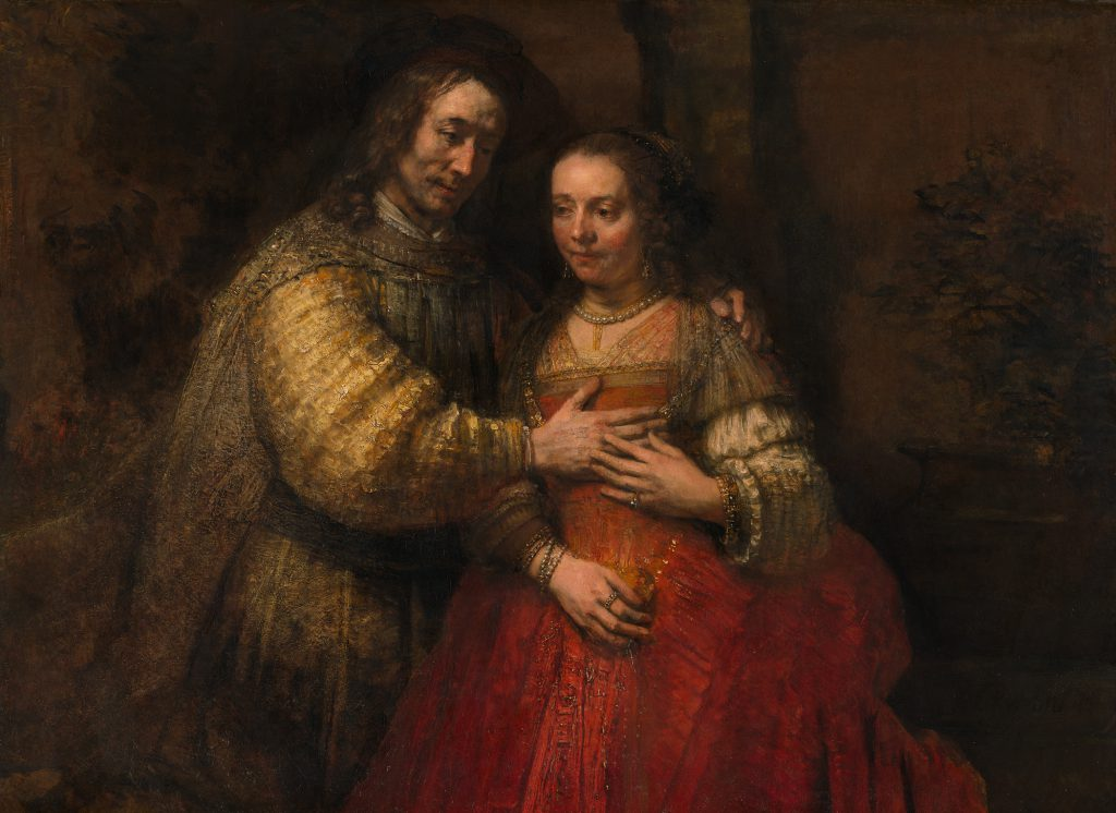 """The Jewish Bride"" (1665) by Rembrandt van Rijn is shown in this handout photo taken on Feb. 7, 2013. Vincent van Gogh said he could sit in front of this portrait of a couple dressed as Isaac and Rebecca for a fortnight. Source: Rijksmuseum via Bloomberg"